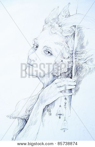 Beautiful Drawing Of Elven Fairy Creature With Tinker Bells, Monochromatic Linear Profile Portrait
