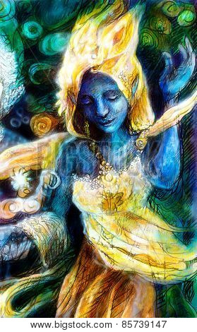 Blue Dancing Spirit In Golden Costume With Energy Lights, Mystic Fantasy Painting, Multicolor