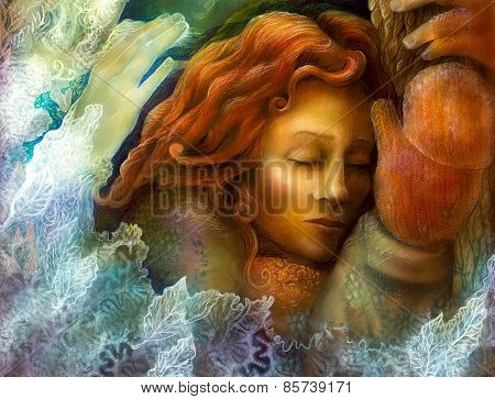 A Head Of A Dreaming Fairy Woman With Red Hair And Winter Glowes, Fantasy Colorful Painting With Whi