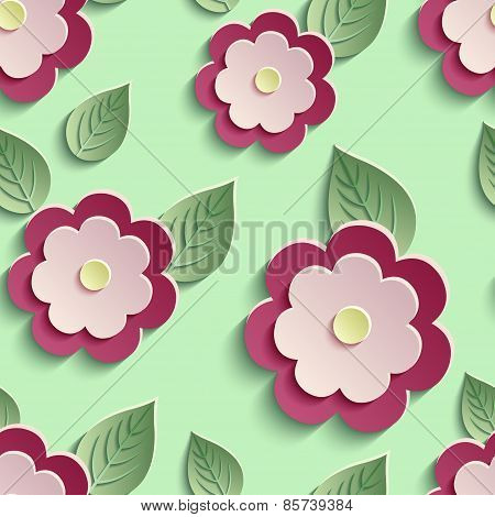 Floral Background Seamless Pattern With 3D Flowers
