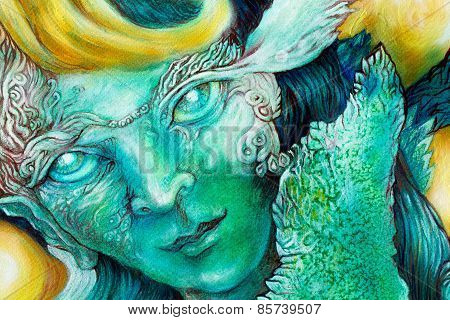 Emerald Green Elven Creature In A Fairy Realm,beautiful Colorful Fantasy Detailed Painting, Face Por