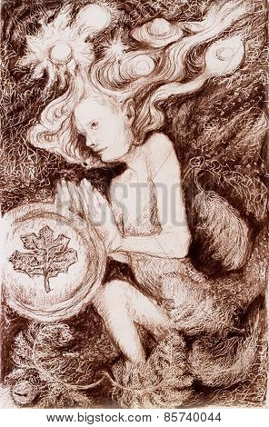 Portrait Of A Fairy Creature On Abstract Structured Ornamental Background, Monochromatic