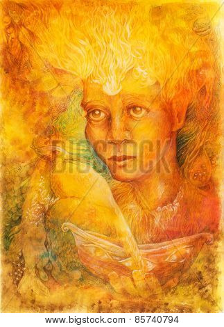Fantasy Golden Light Fairy Spirit With Two Phoenix Birds And A Boat In Her Hand, Beautiful Detailed