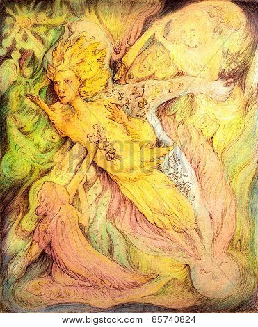 Flying Golden Sun Spirit And Cosmical Writers, Detailed Colorful Artwork