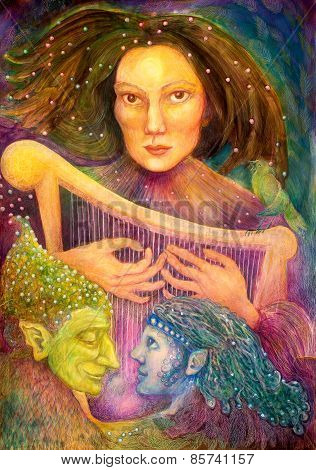 Mystic Woman Playing A Harp With A Pair Of Fairies Listening To Her Music, Colorful Detailed Paintin