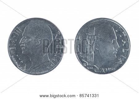 Italy Coin Isolated