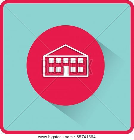 School building. Vector flat icon.