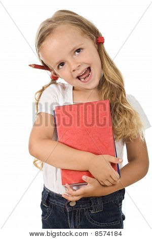 Happy Little Girl With Books And Pencil Behind The Ear