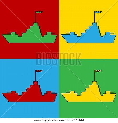 Pop Art Warship Symbol Icons.