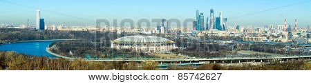 Moscow aerial panorama at day time