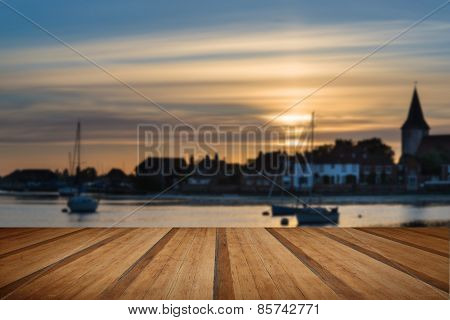 Landscape Tranquil Harbour At Sunset With Yachts In Low Tide With Wooden Planks Floor