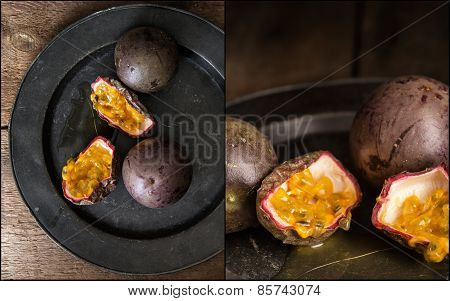 Compilation Of Images Of Passion Fruit In Moody Natural Light Setting With Vintage Retro Style