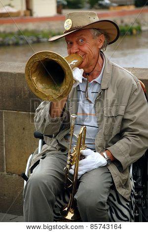 Jazz Player On The Charles Bridge
