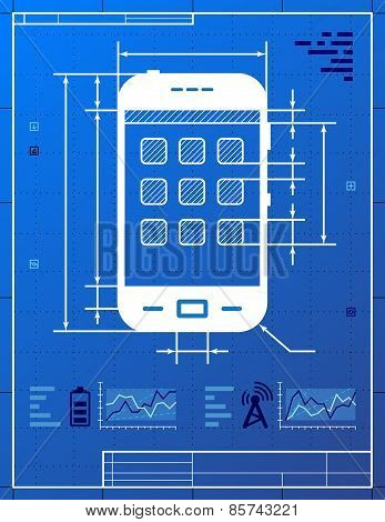 Smartphone Like Blueprint Drawing