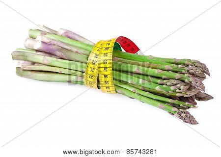 asparagus vegetable with measuring tape