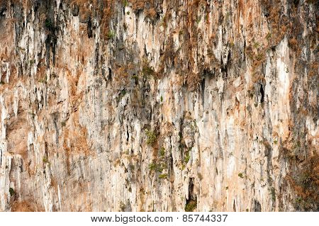 Texture Of Limestone Mountain Cheow Larn Lake In Ratchaprapa Dam In Thailand.