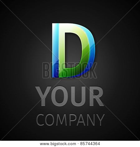 abstract vector logo letter D