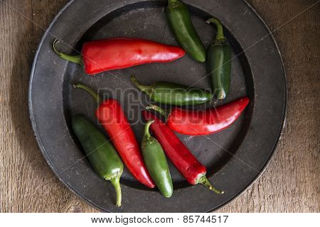 Red And Green Peppers In Vintage Retro Moody Natural Lighting Setting