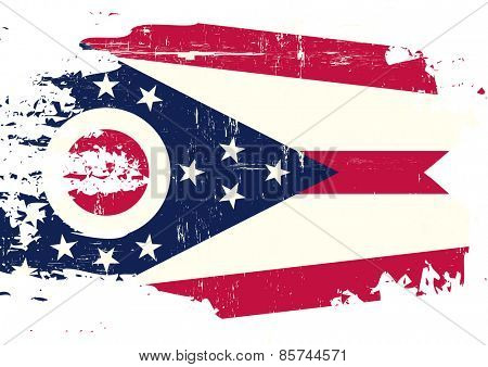 Scratched Ohio Flag. A flag of Ohio with a grunge texture