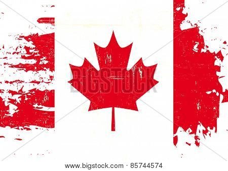 Scratched Canadian Flag. A flag of Canada with a grunge texture