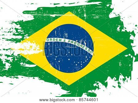 Scratched Brazilian Flag. A flag of Brazil with a grunge texture