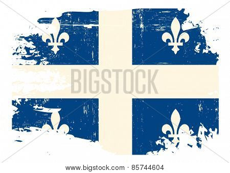 Scratched Quebec Flag. A flag of Quebec with a grunge texture
