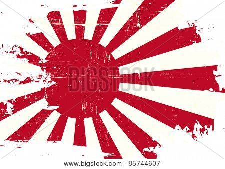 Scratched Japan war Flag. A flag of Japan war with a grunge texture
