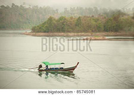 Traditional Tourists Boat In Cheow Larn Lake,Thailand.