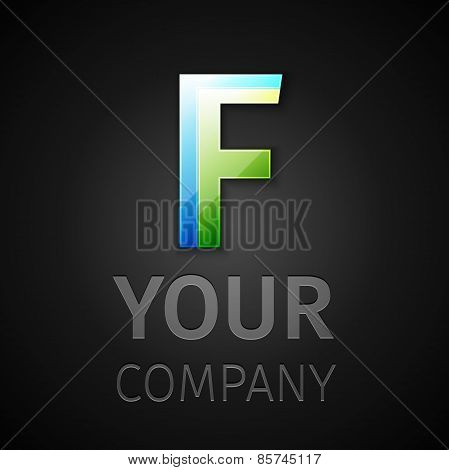 abstract vector logo letter F