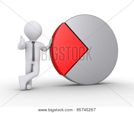 Businessman Is With Pie Chart