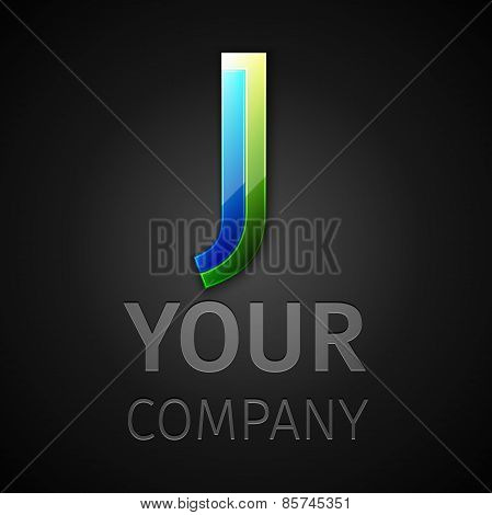 abstract vector logo letter J