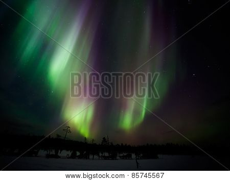 Beautiful Northern lights in Lapland of Finland
