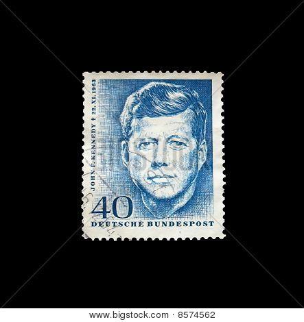 John F Kennedy on postage stamp printed by German