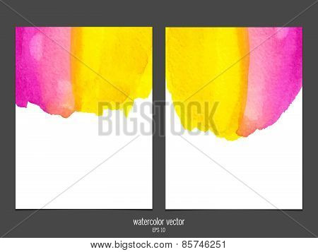 Vector background with watercolor pink and yellow.