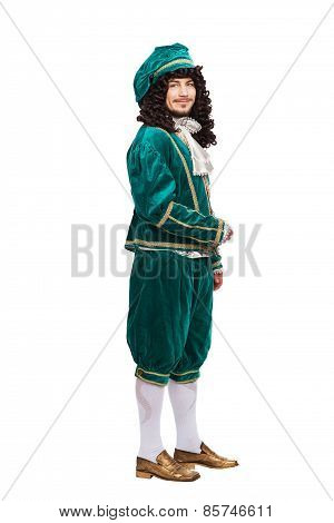 Portrait of the Middle Ages man in red costume isolated on white background