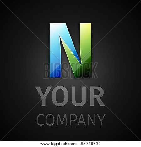 abstract vector logo letter N