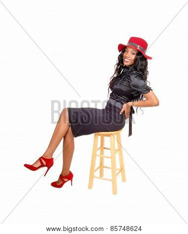 Pretty Tall Black Woman Sitting.