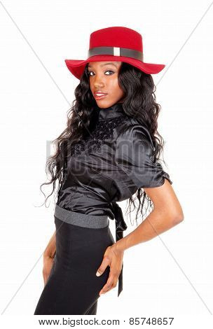 Portrait Of Black Woman With Red Hat.