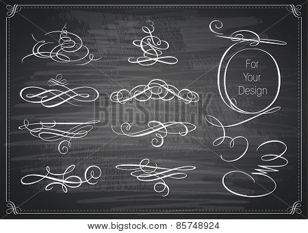 Set of calligraphic design elements. Chalkboard background.