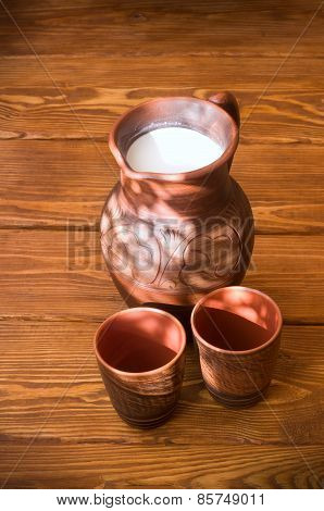 Clay Jug With Milk