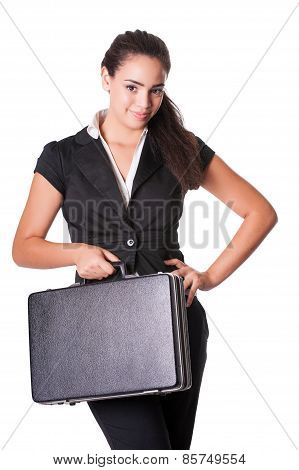 Happy young business lady with briefcase isolated on white
