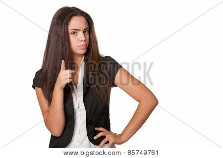 confrontational young woman points finger