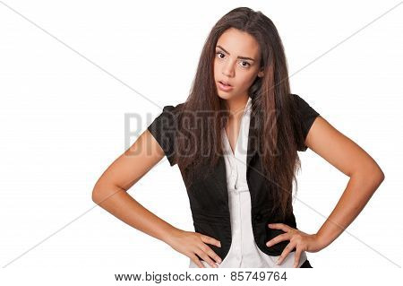 annoyed confrontational young woman