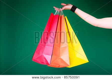 Woman Hand With Shopping Bags.