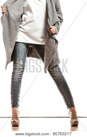 Woman High Heels In Gray Coat.