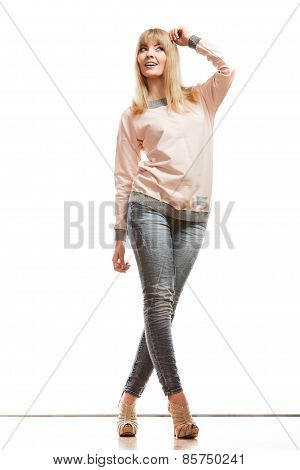 Blonde Fashion Woman In Shirt Denim Pants