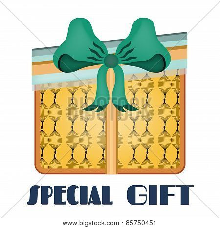 Yellow, isolated gift with pattern, blue bow, retro design, text Special Gift