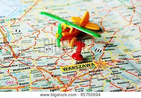 Warszawa ,poland Map Airplane