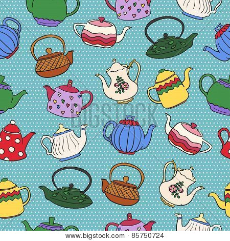 Seamless vector pattern with cute colorful freehand teapots