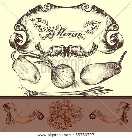 Elegant Menu Design With Vegetables